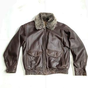 Sonoma Men's Leather Bomber Jacket Size Medium